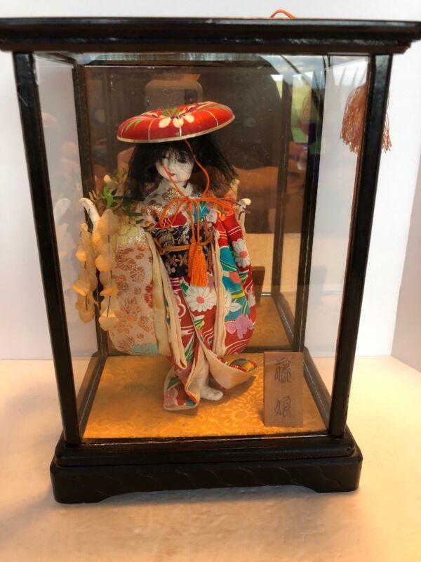 """Antique Geisha Doll In Case 10 1/2"""""""