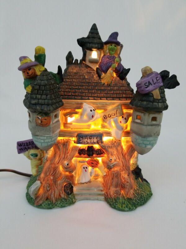 Halloween Village Lighted Porcelain House Magic Castle Hobby Lobby EUC