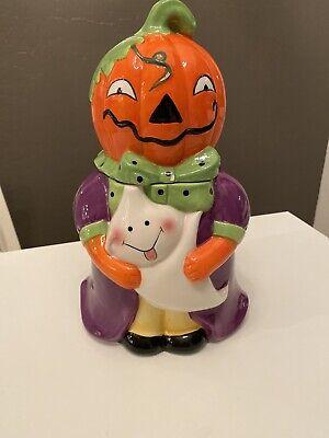 """Vintage Halloween Pumpkin Cookie Jar Ceramic 11"""""""