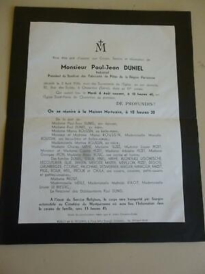 Antique Faire Part Death Notice Duniel Roussin Miehe Pezet Bosc Reminiscent 1946
