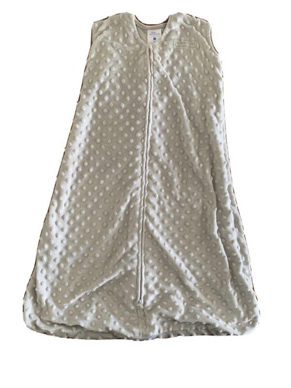 Halo Sleepsack Plush Dot Velboa Blanket, Gray, Large Wearable Blanket