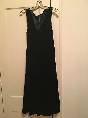 Polo Ralph Lauren Sz 8 Black Velvet Cowl Neck Dress Fully Lined Side Zipper EUC