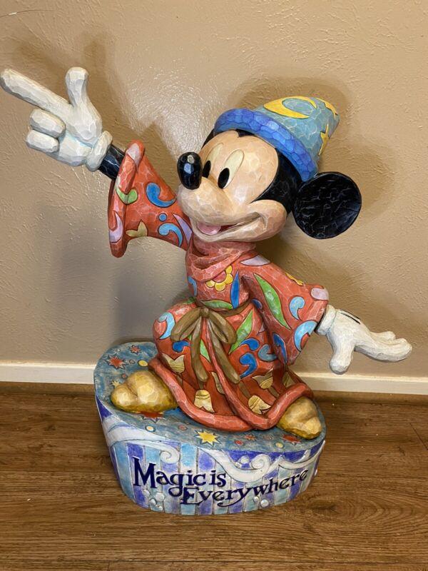 "Rare Disney Jim Shore Mickey Mouse Sorcerer ""Magic is Everywhere"" Big Figure VTG"