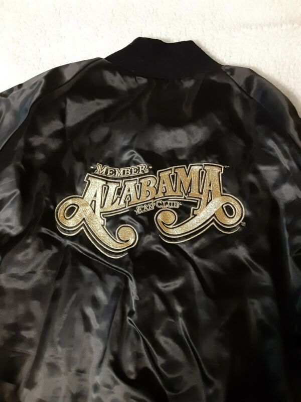 Vintage Alabama Fan Club Satin Jacket Size 3XL Black/Gold Snap Up