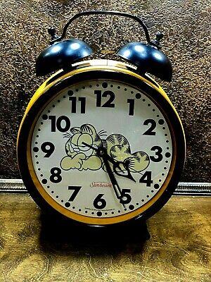 "Vintage Large GARFIELD Big Fat Alarm Clock Sunbeam Orange Cat 18 "" WORKS"