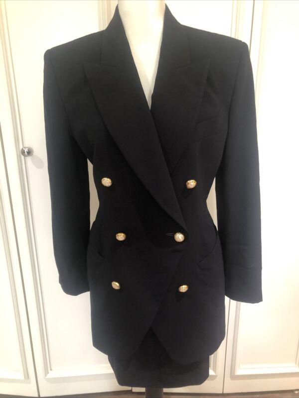 Donna Karan Vintage 80s Black Wool Cutaway Jacket And Skirt Pearl Buttons 8/10