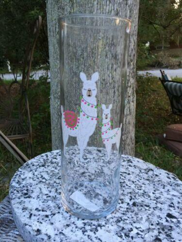 "HTF Mama & Baby Llama Animals 10"" Clear Glass Vase USA Made Lovely"