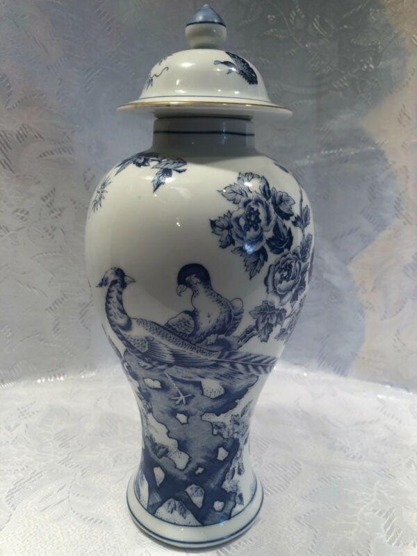Vintage Porcelain Asian White and Blue Tall Ginger Jar Vase Urn Bird Floral
