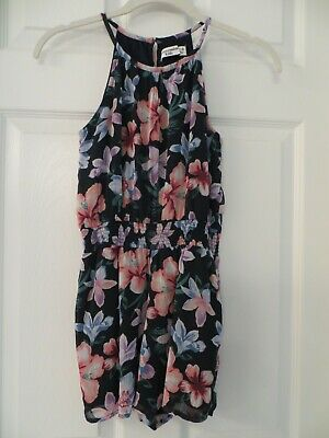 Abercrombie Kids Floral Romper Girls Black Sleeveless Tank Size 9 10