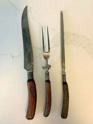 Wilbert Cutlery Co Carving Knife Plus Unbranded Sharpener and Meat Fork