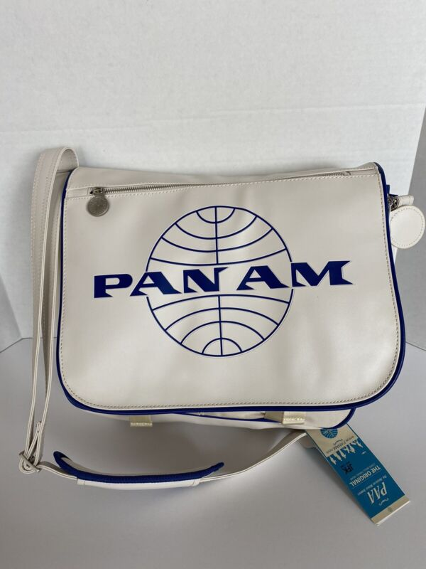 """PAN AM """"Messenger Reloaded"""" Bag Certified Vintage Style Pan Am White"""
