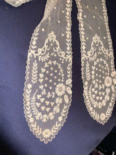 Antique C1910 Schiffli Lace Lappit Shawl Collar Nice Condition