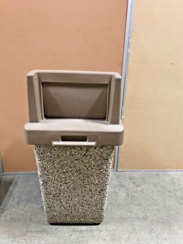 Commercial Concrete Waste Container 30 Gallon Push Door Lid TF1015