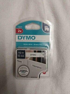 Dymo D1 45013 Black-on-white Tape 12 X 23 Pack Of 2 Standard Labels