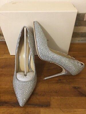 JUDITH LEIBER Jasmine Silver Suede  Diamante Embellished Heels Size UK 6/EU 39