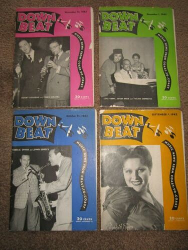 VINTAGE > Lot of 4 DOWN BEAT magazines JAZZ music 1940