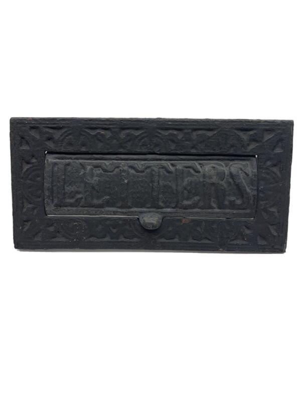 Vintage Victorian Cottage Ornate Cast Iron Letter Box Plate Door Mail Slot