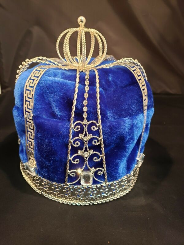 "Royal Blue Velvet King Crown with Crystal Rhinestones 9"" Tall"