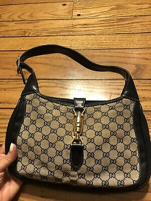 Gucci Jackie 1961 Vintage Hobo Bag Purse Blue HTF Piston Small HTF Monogram GG