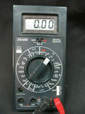 Sears 82418 Multimeter Ohms Ac Dc Volts Current Capacitance Transistor Hfe