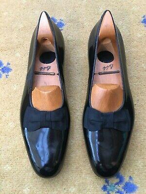 John Lobb Ltd Mens Shoes Black Patent Leather Pump Loafers UK 10 US 11 EU 44 Bow