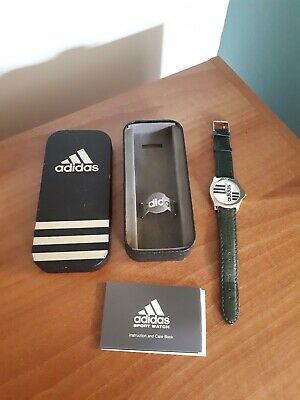 Adidas Retro Watch Genuine Leather Strap Stainless Steel Water Resistant Boxed