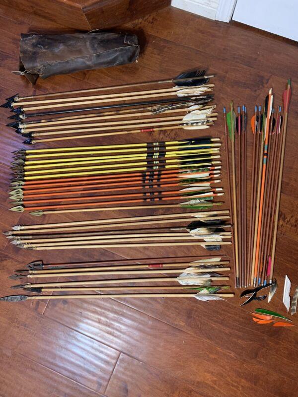 48 Vtg Wood /Archery Arrows w/obsidian, agate,Alum , Broad head ,quiver