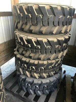 New Set Of 4 15x19.5 14 Ply Skid Steer Telehandler Tires Fits Gehl Terex Etc