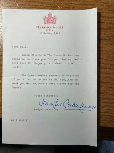 Queen Elizabeth  1994 signed  Letter   Clarence House