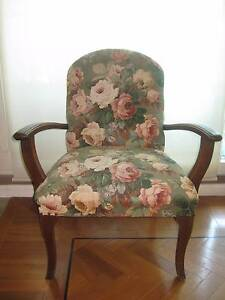 Two timber armed upholstered airmchairs Woolloomooloo Inner Sydney Preview