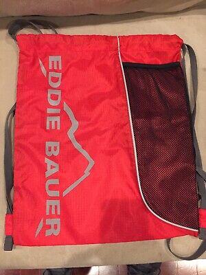 Eddie Bauer Drawstring Backpack Bag Lightweight Travel Daypack Tote Red Eddie Bauer Lightweight Tote