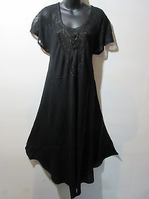 Dress Fit 1X 2X 3X 4X Plus Sundress Black Lace Sleeves A Shaped Chest Ties G602 3 Plus 2 Chest