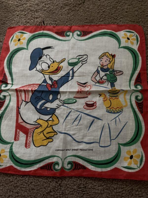 Vintage Walt Disney Handkerchief Donald Duck Alice Tea Party
