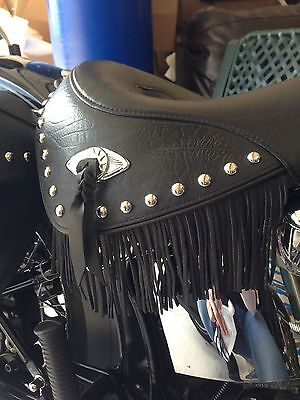 Motorcycle Seat Black / Tan Leather Fringe Harley Kawasaki Honda Yamaha Suzuki