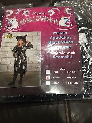 Girls Age 7-9 Sparkling Witch Costume Halloween](Halloween Costumes For Girls Age 9)