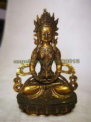 Amitābha Vintage Buddhism bronze God Kwan-yin Buddha Antiques bhagavan Statue
