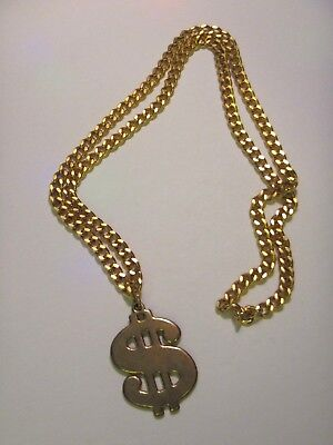Gold Dollar Sign $ Necklace Costume Pimp Halloween](Dollar Sign Halloween Costume)