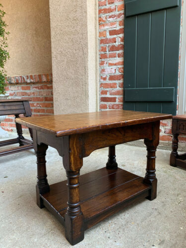 Antique English Oak Stool Bench End Table Jacobean Joint style Shelf