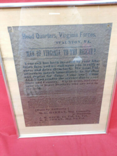 Framed Civil War Recruiting Poster for Virginia Staunton Headquarters