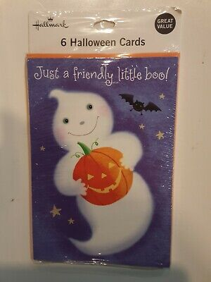 6 HALLMARK HALLOWEEN GHOST GREETING CARDS WITH ENVELOPES