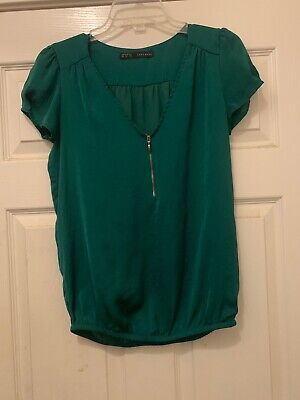 Zara Basic Women Blouse Short Sleeve 1/4th Zip Green Vee Neck