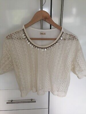 Loose Fit Crop (CREAM LACEY HOLLISTER CROP TOP Loose Fit Short Sleeve boho Summer Festival MED)