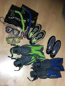 2 sets of junior snorkeling gear and water shoes