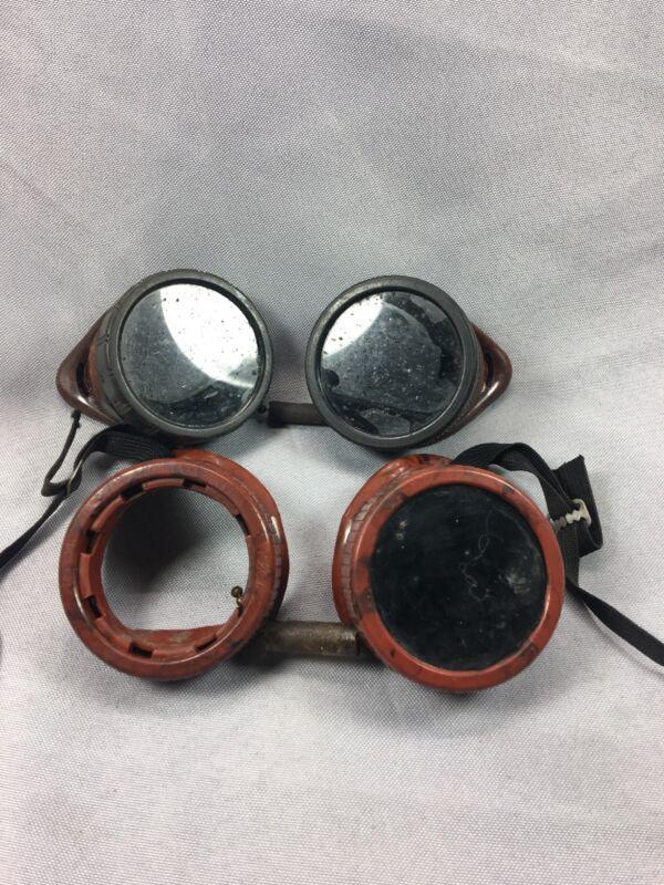 2 Antique Bakelite Welding Goggles, Glasses, Steampunk, Industrial Art, Vintage