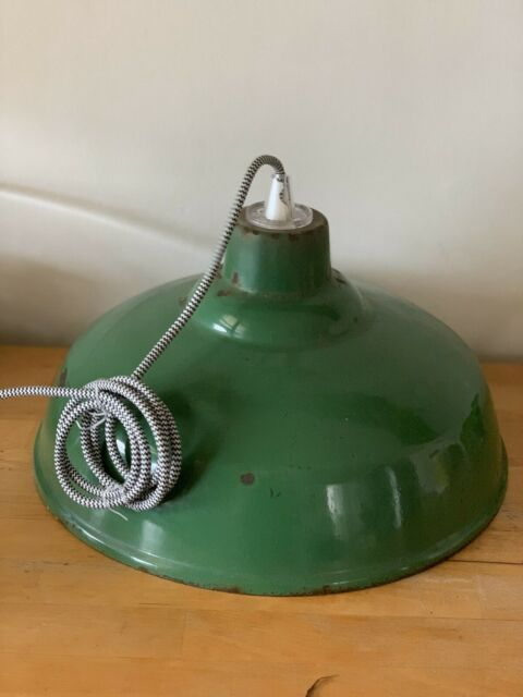 Vintage Industrial Pendant Workshop Green Light Ready To Hang Ceiling Lights Gumtree