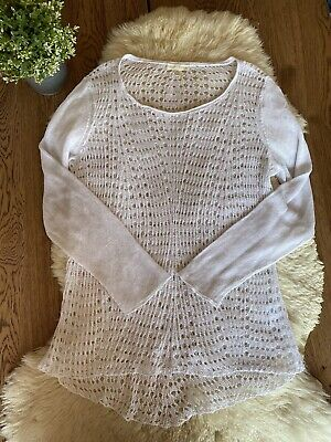 Eileen Fisher Lace Knit 100% Organic Linen Warm White Pullover Sweater Sz L