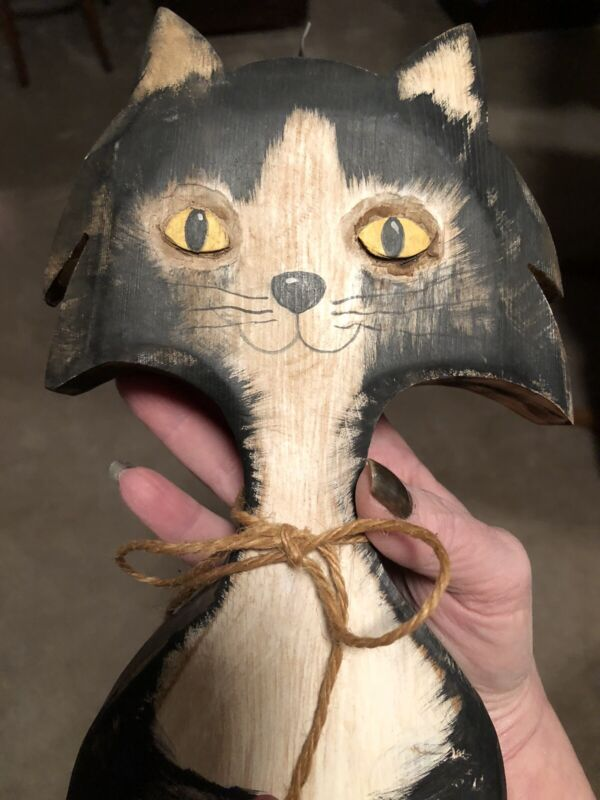 Large, Whimsical, Primitive, Hand Carved And Painted Wooden Cat