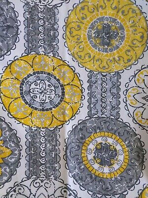 Kassatex Fine Linens Medallion Print Shower Curtain Yellow Grey