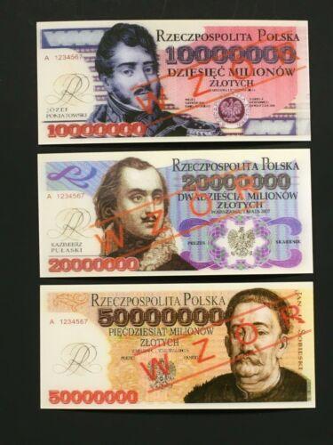 POLAND 2007 - SET OF 3 HOLOGRAM NOTES (ONE SIDE )-SPECIMEN /WZOR -GEM UNC