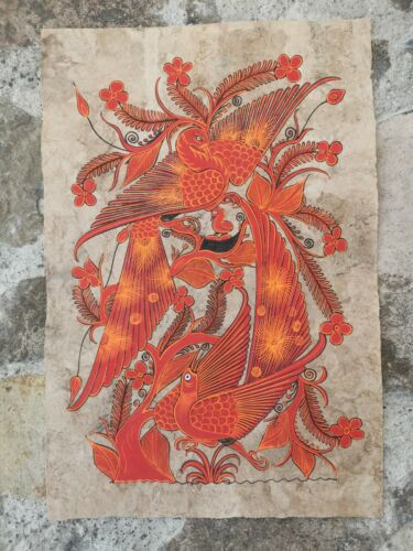 Authentic Mexican Art, Handmade Orange Birds Painting on Bark Paper or Amate